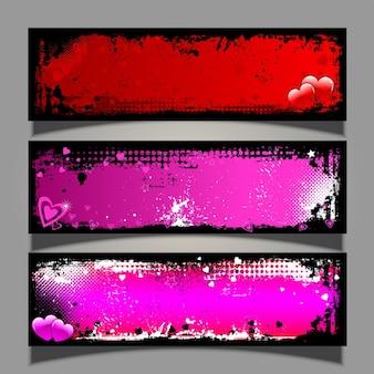 Grunge banners for valentine