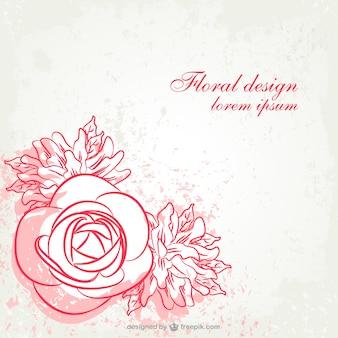 Grunge floral line art design