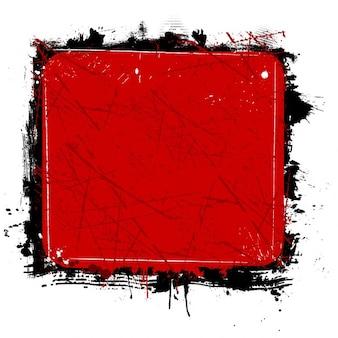 grunge frame in red color