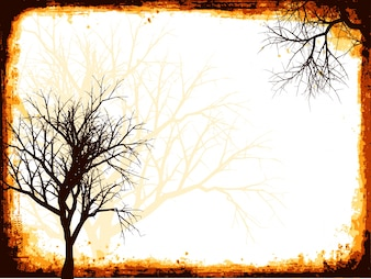 Grunge frame with trees