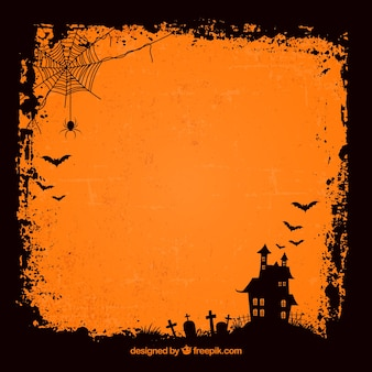 Grunge halloween background with haunted house