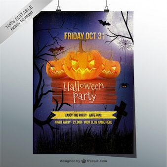 Grunge Halloween party flyer template