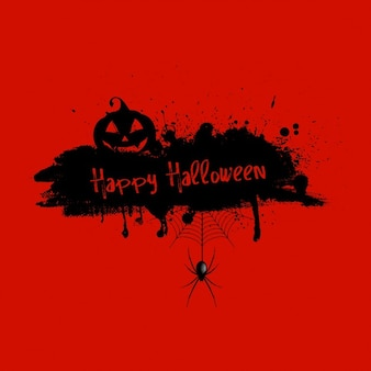 Grunge halloween red background with pumpkin and spider
