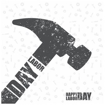 Grunge labor day background with a flat hammer