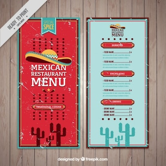 Grunge mexican food menu template