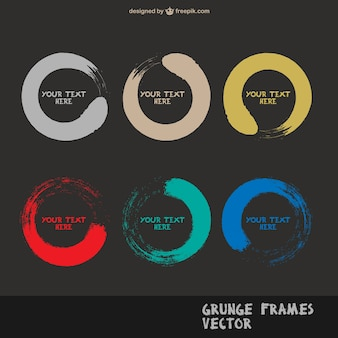 Grunge round frames in assorted colors