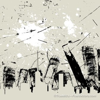 Grunge skyline with texture background