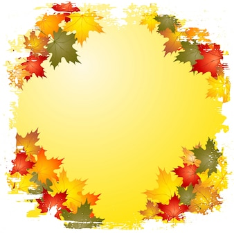 Grunge style border of autumn leaves