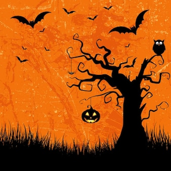 Grunge style halloween background with bats jack o lantern and owl