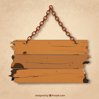 Grunge wood board hanging on a chain