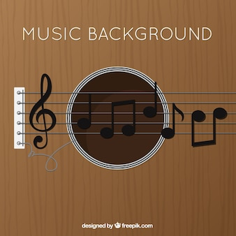 Guitar background with treble clef and musical notes