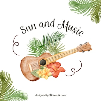 Guitar background with tropical flowers and message