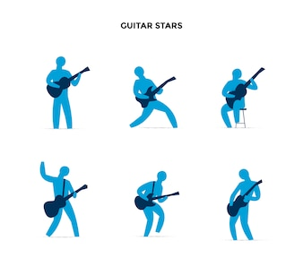 Guitar player postures collection