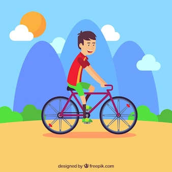 Guy riding bike with lovely style