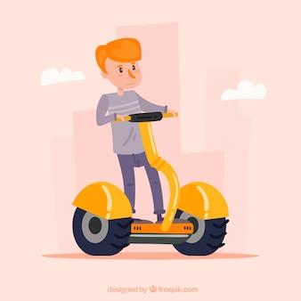 Guy riding modern segway