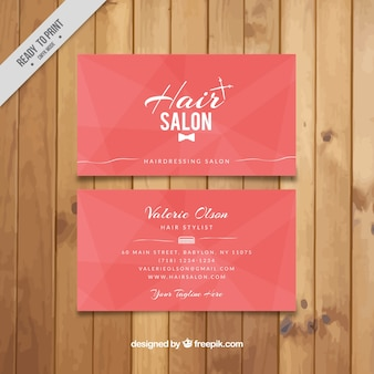 Hair salon pink card