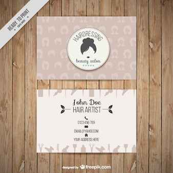 Hairdressing business card with silhouettes