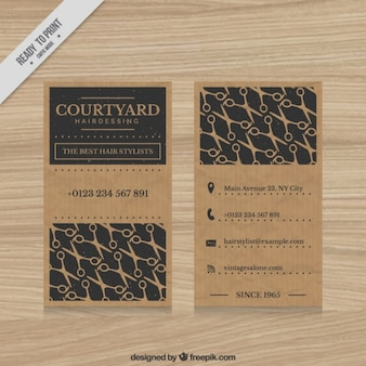 Hairdressing card with scissors pattern