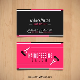 Hairdressing salon card with scissors and combs