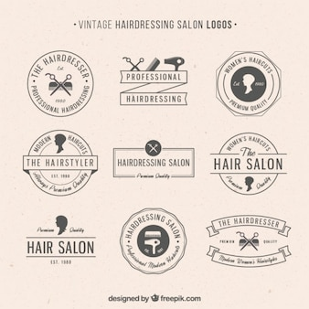 Hairdressing salon logos in vintage style