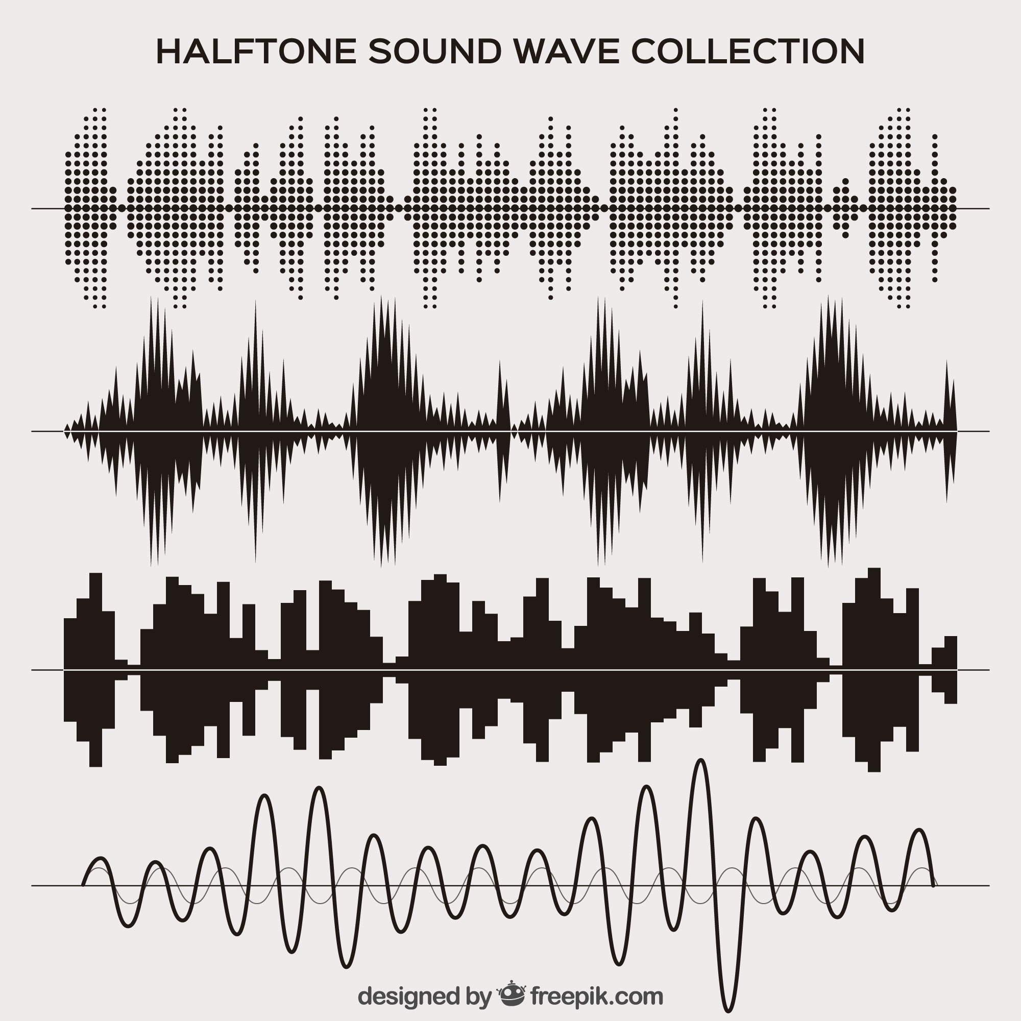 Halftone sound wave set