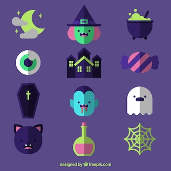 Halloween accessories collection in flat design