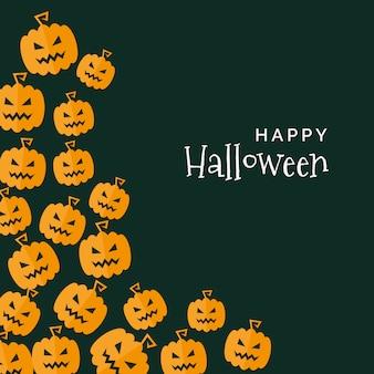 Halloween background of creepy pumpkins in flat design