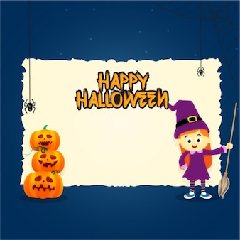 Halloween background with blank sign and smiling witch