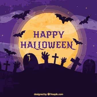 Halloween background with cemetery and zombies
