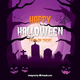 Halloween background with creepy cemetery