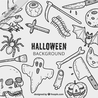 Halloween background with drawings