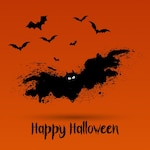 Halloween background with grunge bat design