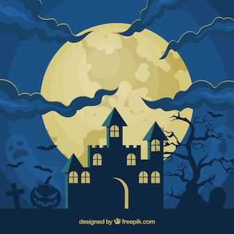 Halloween background with house and full moon