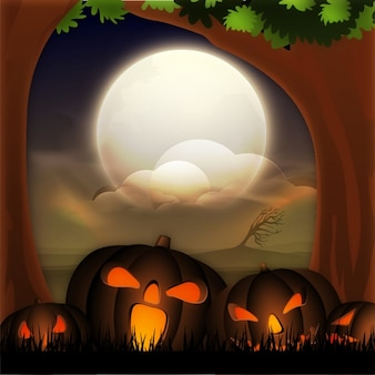 Halloween background with pumpkins and full moon