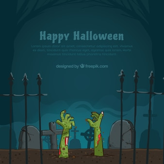 Halloween background wtih zombies