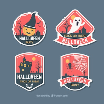 Halloween badges in four colours
