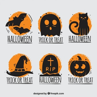 Halloween badges with orange background