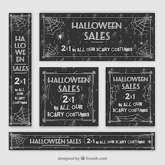 Halloween banners collection with spider web design