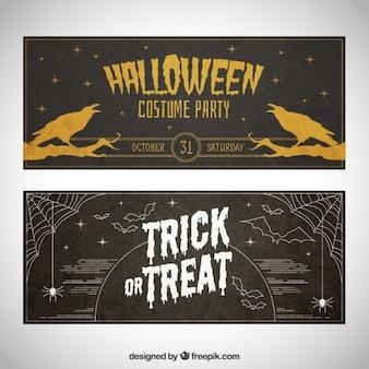 Halloween banners in blackboard style