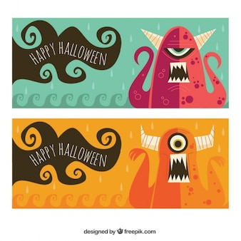Halloween banners of nice monsters