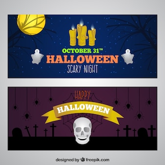 Halloween banners with candles and skull