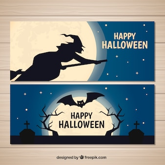 Halloween banners with cemetery and witch