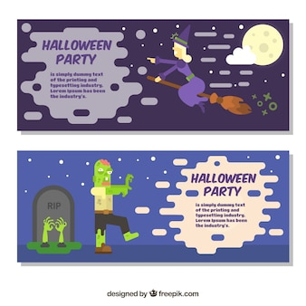 Halloween banners with characters in flat design