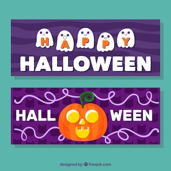 Halloween banners with ghosts and pumpkin