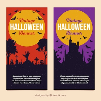 Halloween banners with modern style