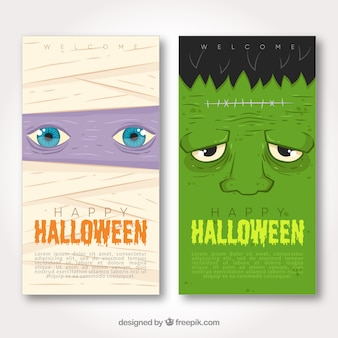 Halloween banners with mommy and frankenstein