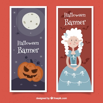 Halloween banners with princess and pumpkin