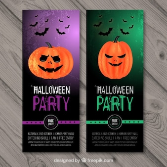 Halloween banners with pumpkins