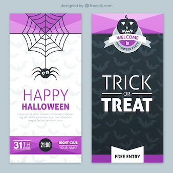 Halloween banners with purple elements