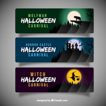 Halloween banners with silhouettes